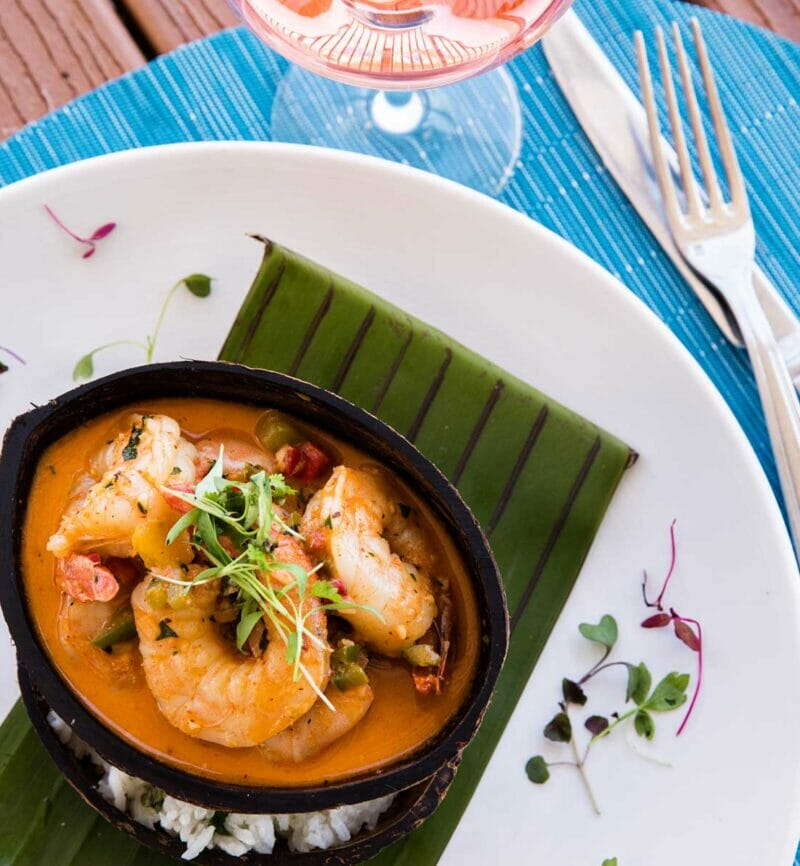 shrimp dish on leaf plate setting