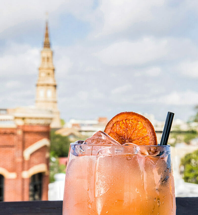 cocktail with city view in the back