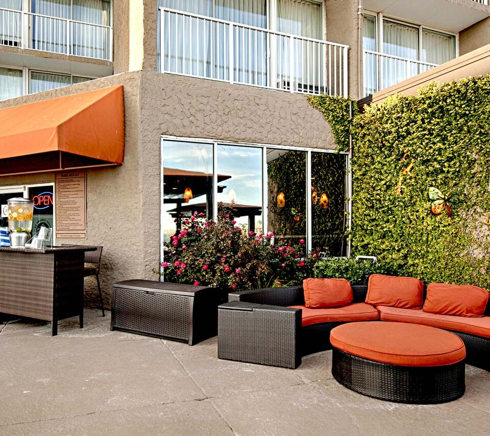 cafe exterior at hotel with comfortable group seating