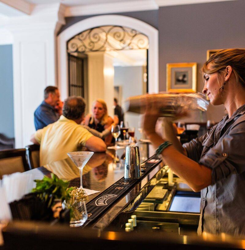 a bartender shaking a cocktail at a hotel bar