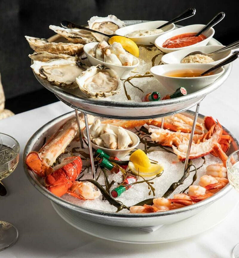seafood tower with lobster shrimp and oysters
