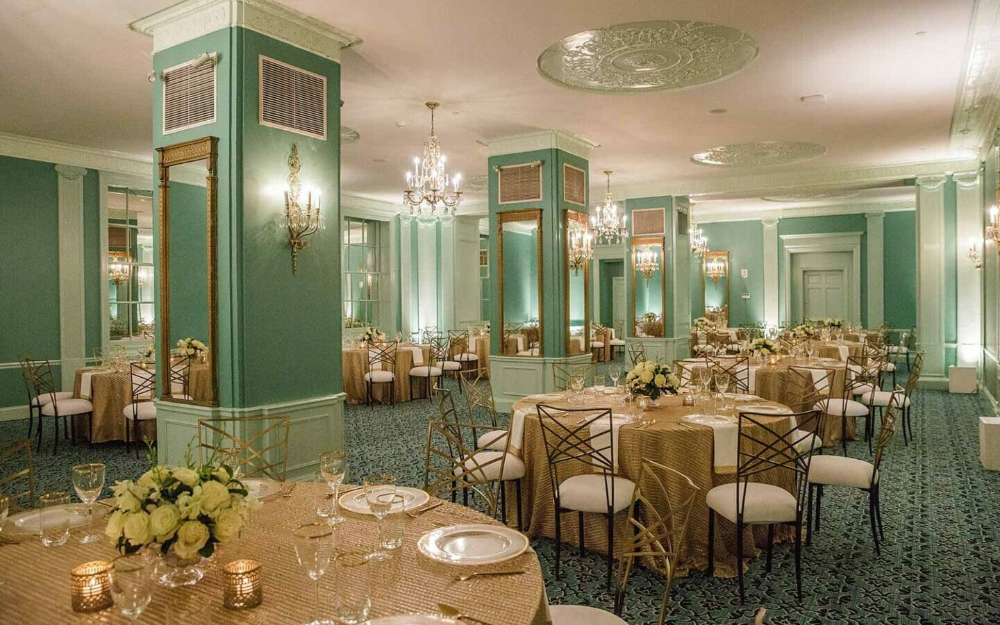interior event venue at The Read House with set tables and lavish decor